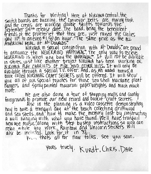 Nirvana Happy Meal Letter